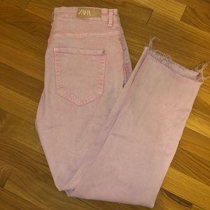 Zara Pink Denim Frayed Jeans